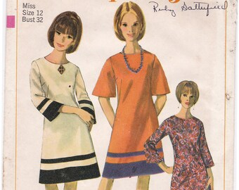 FF Vintage 1966 Simplicity 6634 Misses' A Line Dress Sewing Pattern, Round Neckline Back Zipper, Size 12, Bust 32, UNCUT