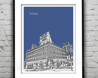 Rolla Skyline Poster Art Print Missouri MO