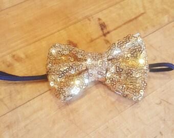 Gold Sequin Bow Headband; Bow Headband; Bride Headband; Flower Girl Headband; Bridesmaid Headband; Baby Headband