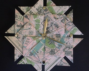 Paris Street Map Origami Clock-Large