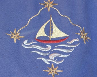 Royal Blue Embroidered Tee