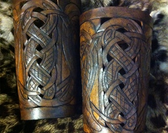 "Leather bracers, Viking- ""Buliwyf"" HALF LENGTH celtic dragon cut-out design in Honey & Brown"