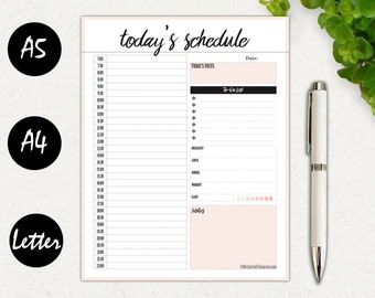 Hourly Planner Printable, Daily Schedule, Daily Agenda Planner, Printable Planner, Daily Planner, Organizer Page, A4, Letter, A5 Printable