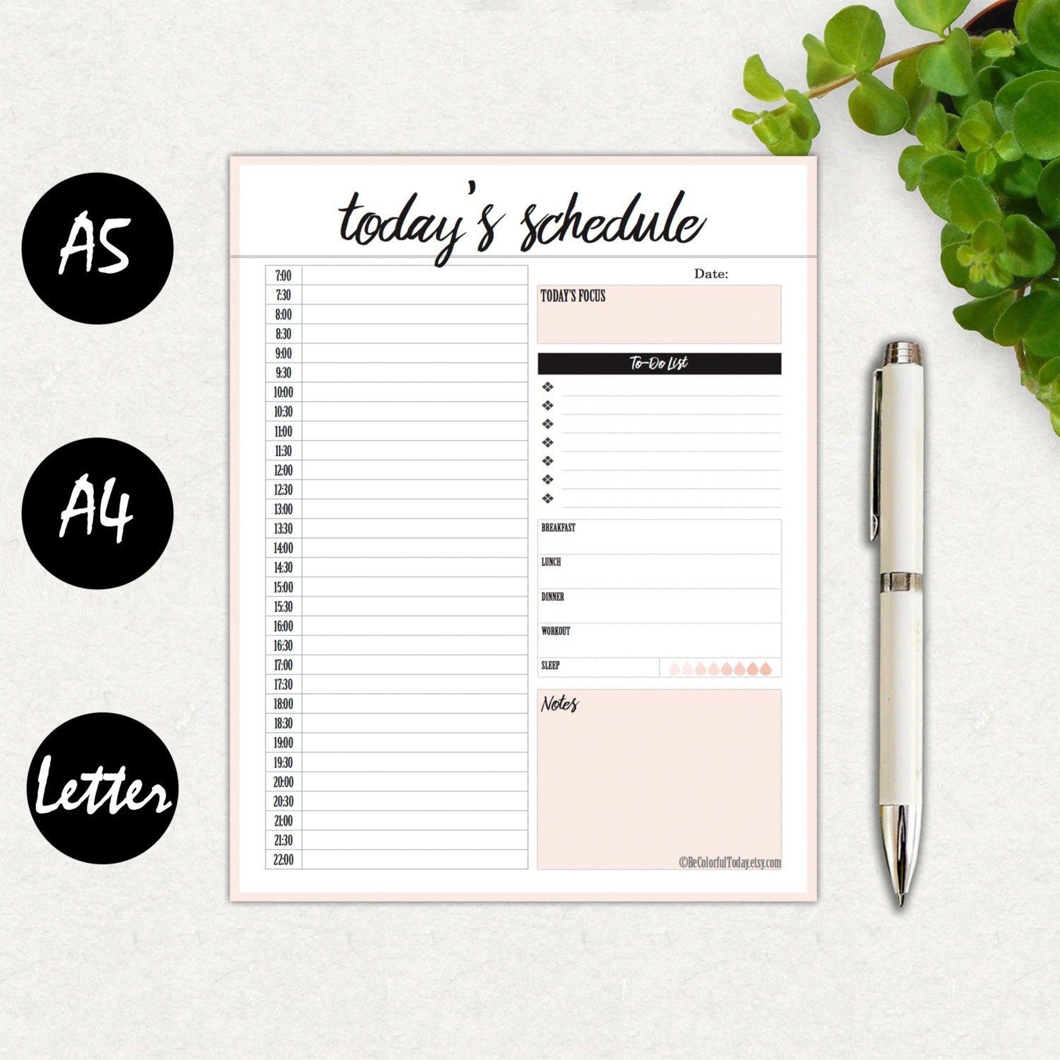 daily hourly planners