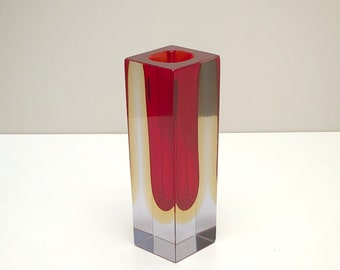 Italian design vase-FLAVIO POLI for Mandruzzato-red/yellow Murano saint