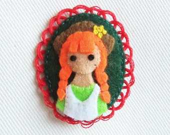 Anne of Green Gables Embroidered Felt Brooch