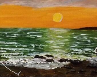 Acrylic on wood Sunset on the bay
