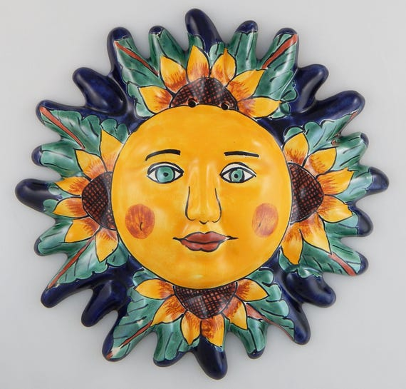 Mexican Talavera Sun Face Hand painted Pottery Sunflowers Wall