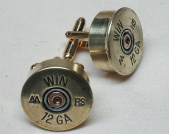 Shotgun Shell Cufflinks Winchester Win AA HS 12 Ga Brass - Wedding Gift for Groom