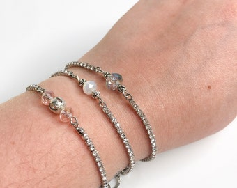Bracelet adjustable silver plated - cubic zirconia cross or silver cross connector - free shipping