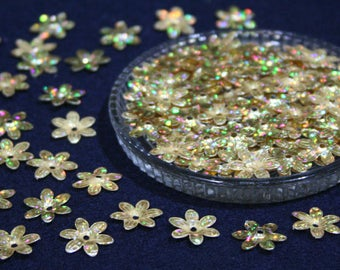 100 • 15 mm White Gold Glitter Flower Sequins