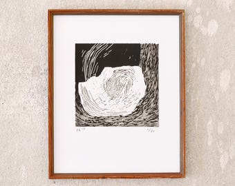 uncertain place 6 · original linocut on paper · handmade and signed · limited