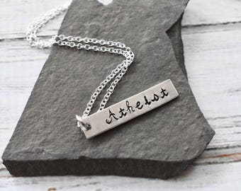 Atheist Stamped Aluminum Necklace- Custom Metal Freethinker Humanist  Pendant -Hand Stamped Pendant Necklace on Plated Chain