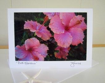Pink Hawaiian Hibiscus Flower - Blank Card w/envelope