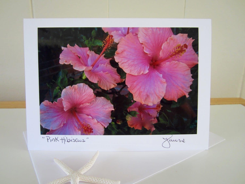 Pink Hawaiian Hibiscus Flower Blank Card Wenvelope