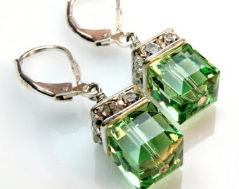 Peridot Crystal Earrings, Green Earrings, Drop Earrings, Dangle Earrings, Wedding Bridesmaid Earrings, August Birthday Birthstone Jewelry