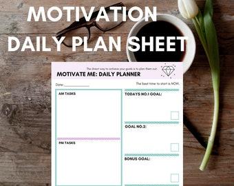 Motivation Daily Plan Sheet - Achieve your goals