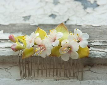 Flower Hair Comb with apple blossom