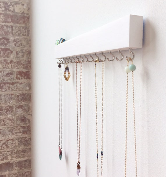 Jewelry Organizer Wall White Wall Decor Necklace Holder