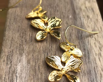 Gold or silver Orchid Earrings, bridesmaid gift,