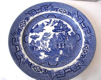 1950s Plate - Blue Willow - Dinner Plate - Allertons Ltd. - Made in England