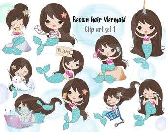 Brown hair Mermaid Clip art set 1 , instant download PNG file - 300 dpi