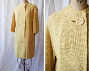 1950s Spring Coat | The Globe Trotter | Vintage 50's Pale Yellow Wool Jacket Basket Weave Texture Large Buttons Pockets Marshall Fields / M