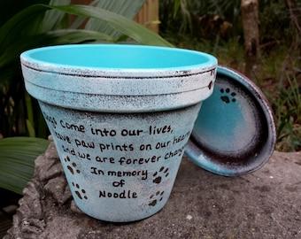 Dog Memorial Gift - Cat Memorial Gift - Pet Memorial Gift  - Painted Flower Pot - Seed Card