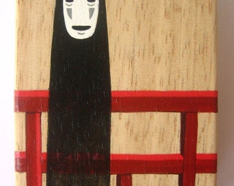 Spirited Away wooden box No Face stand on the bridge