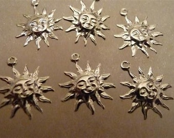 Charm, Silver Plated Brass, 12x12mm, sun face, Pack Of 12 charms.