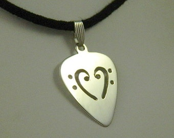 Bass Clef Guitar Pick Pendant in Sterling Silver