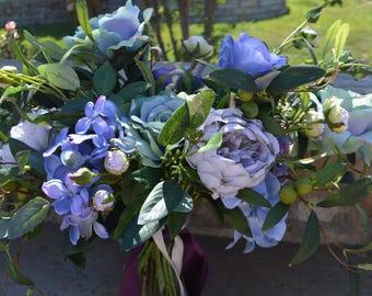 Bohemian Bouquet, Garden Fresh Bouquet, Blue Bouquets, Bridal Bouquet, XL bouquet, XL BOHO bouquet