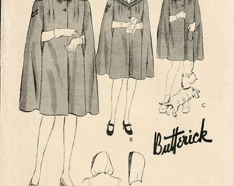 1940s Butterick 1469 Vintage Sewing Pattern Toddler Girl Tailored Cape, Hooded Cape Size 2