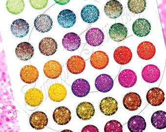 """INSTANT DOWNLOAD - 1""""  Circles Glitter 01 Printable for bottle cap hair bow magnet glass card sticker jewelry aceo atc Print Your Own Images"""