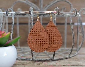 Basket Weave leather earrings