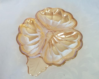 Marigold Carnival Glass 3 Section Dish, Carnival Glass Small Candy Dish, Vintage Carnival Glass Clover Dish