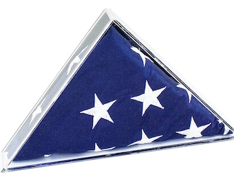 Deluxe Acrylic American Flag Memorabilia Display Case for Small 2' x 3' or 3' x 5' Flag