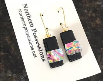 Preppy Pink Dichroic Earrings