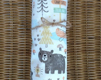 Receiving Blanket or Pack 'n Play Fitted Sheet Camping Woodland Swaddling Blanket Flannel Baby Animals Bear Rabbit Squirrel Ready to Ship