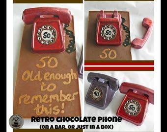 Telephone Chocolate Gift/Retro Phone/Dial Telephone/50th birthday edible/novelty chocolate 40th/50th/60th/70th/80th/fun friend/dad/mum/son