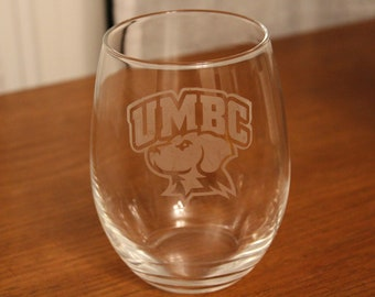 UMBC 21 oz Etched Stemless Wine Glass, UMBC, UMBC Wine Glass, Dishwasher Safe
