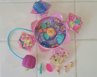 RARE 1996 Polly Pocket Fountain Fantasy Vintage Bluebird Compact Playset Complete 90s Kid Toys Pink Water Flower Gift