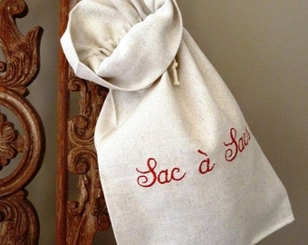 Bag embroidered linen and cotton bags. 2 sizes to choose.