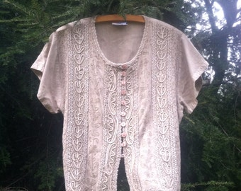 Casual Boho Tops Lantern Sleeve Embroidered Top - CISHQBN35721129 - White -  Cotton Blends Blouses