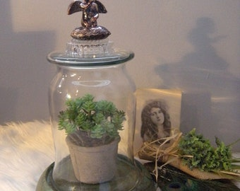 Large ~ Vintage Up-cycled Glass Terrarium ~ With Angel Blowing a Kiss Finial And Copper Patina Base and Dome