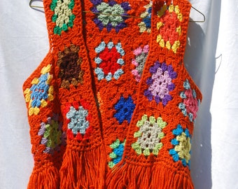 Vintage Crotched Patchwork Knitted Hippie Bohemian Burning Man Festival Circus Vest