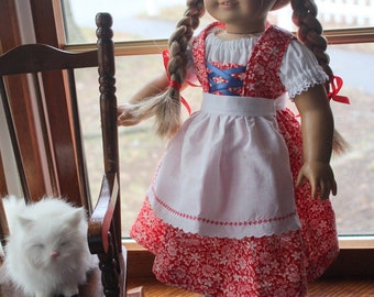 Red Calico Gretel's Peasant Outfit for Dolls - Jumper, Blouse & Apron - Ready to Ship