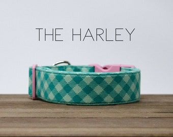 """Modern Turquoise & Mint Bias Plaid Checked Dog Collar """"The Harley"""""""