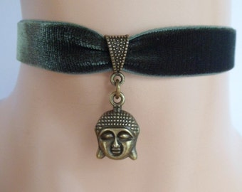 buddha choker, green velvet choker, stretch ribbon, olive green