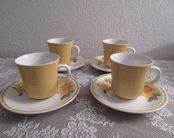 """Vintage Mikasa """"Cera-Stone"""" Cups and Saucers"""